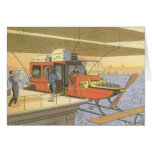 Vintage Science Fiction Airplane Helicopter Limo Greeting Card