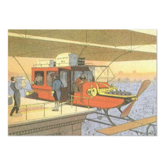 "Vintage Science Fiction Airplane Helicopter Limo 5"" X 7"" Invitation Card"