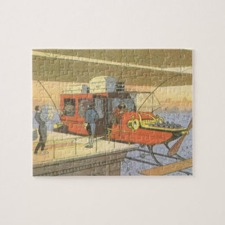 Vintage Science Fiction Airplane Helicopter Limo Jigsaw Puzzle