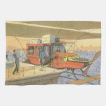 Vintage Science Fiction Airplane Helicopter Limo Towels