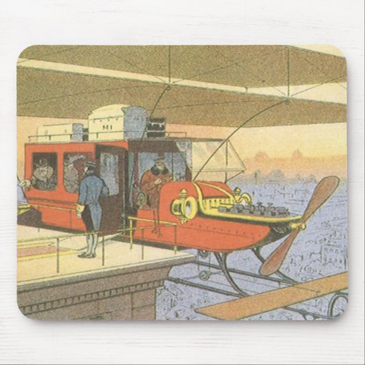 Vintage Science Fiction Airplane Helicopter Limo Mouse Pad
