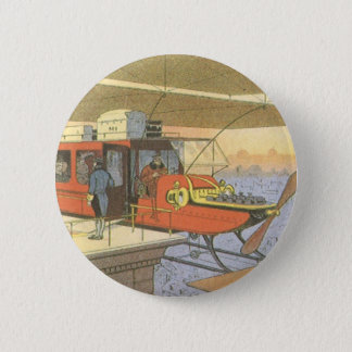 Vintage Science Fiction Airplane Helicopter Limo Pinback Button