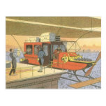 Vintage Science Fiction Airplane Helicopter Limo Postcards