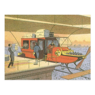 Vintage Science Fiction Airplane Helicopter Limo Postcard