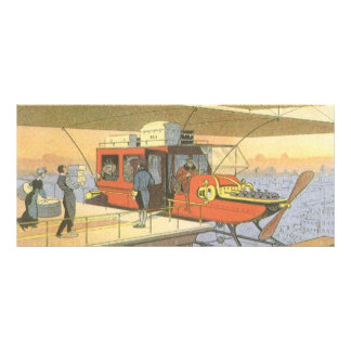 Vintage Science Fiction Airplane Helicopter Limo Rack Card