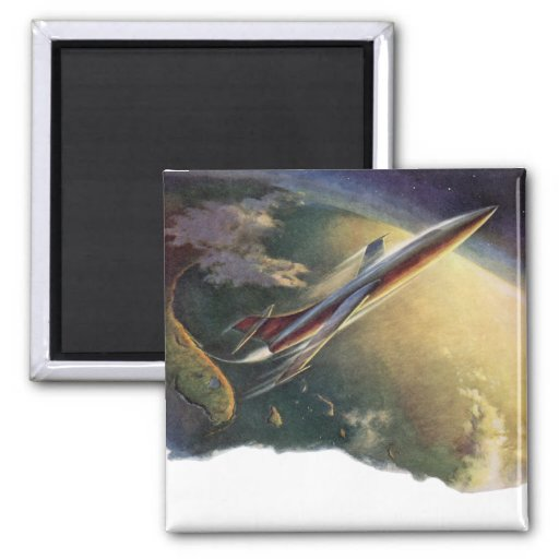 Vintage Science Fiction Airplane Spaceship Earth Fridge Magnet