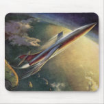 Vintage Science Fiction Airplane Spaceship Earth Mouse Pads