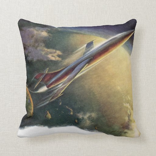 Vintage Science Fiction Airplane Spaceship Earth Pillows