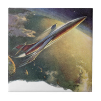 Vintage Science Fiction Airplane Spaceship Earth Small Square Tile