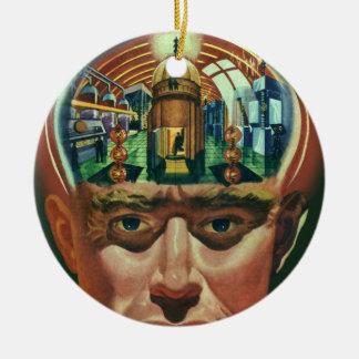 Vintage Science Fiction, Alien Brain in Laboratory Ceramic Ornament
