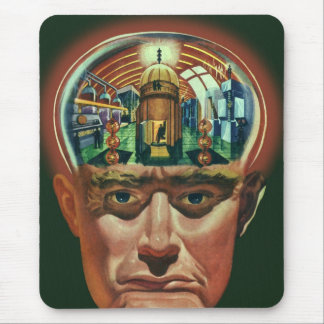 Vintage Science Fiction, Alien Brain in Laboratory Mouse Pad