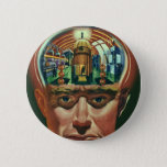 Vintage Science Fiction, Alien Brain in Laboratory Pinback Button