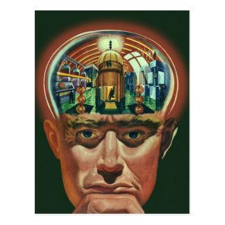 Vintage Science Fiction, Alien Brain in Laboratory Postcard