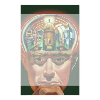 Vintage Science Fiction, Alien Brain in Laboratory Stationery