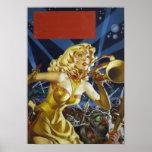 Vintage Science Fiction Alien Monsters Pulp Poster