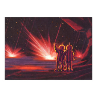 Vintage Science Fiction Alien Red Planet Explosion Card