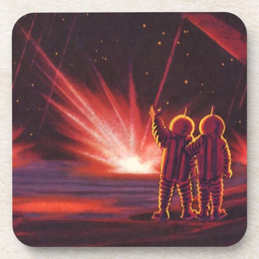 Vintage Science Fiction Alien Red Planet Explosion Drink Coasters