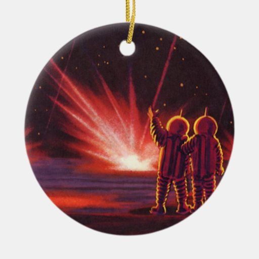 Vintage Science Fiction Alien Red Planet Explosion Double-Sided Ceramic Round Christmas Ornament