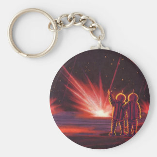 Vintage Science Fiction Alien Red Planet Explosion Keychain