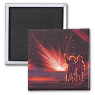 Vintage Science Fiction Alien Red Planet Explosion Magnet