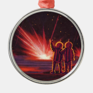 Vintage Science Fiction Alien Red Planet Explosion Christmas Ornaments