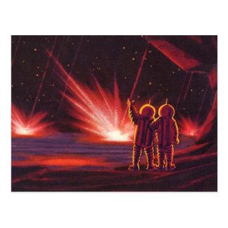 Vintage Science Fiction Alien Red Planet Explosion Postcard