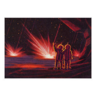Vintage Science Fiction Alien Red Planet Explosion Poster