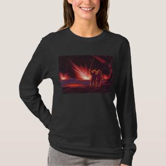 Vintage Science Fiction Alien Red Planet Explosion T-Shirt