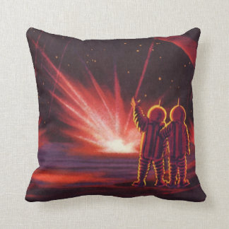 Vintage Science Fiction Alien Red Planet Explosion Throw Pillow