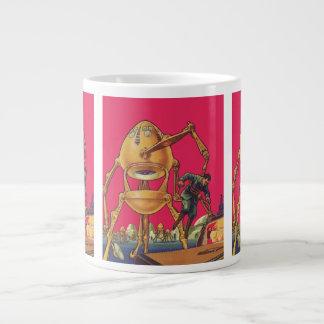 Vintage Science Fiction Alien Robot Captures Man Large Coffee Mug