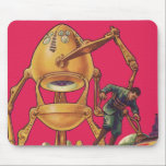 "Vintage Science Fiction Alien Robot Captures Man Mouse Pad<br><div class=""desc"">Vintage illustration futuristic Science Fiction aliens and robots image. A classic future retro comic book sci fi design featuring an egg shaped robot holding a man in his claws. The characters pop on a bright pink background.</div>"