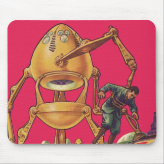 Vintage Science Fiction Alien Robot Captures Man Mouse Pad