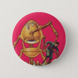 Vintage Science Fiction Alien Robot Captures Man Pinback Button