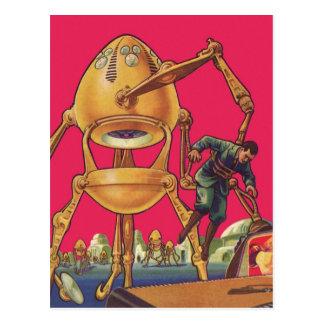 Vintage Science Fiction Alien Robot Captures Man Postcard