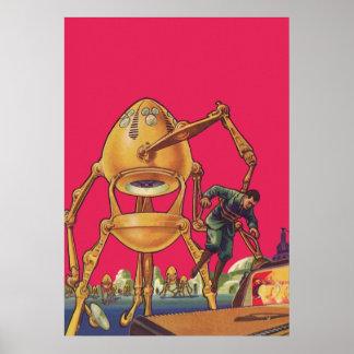 Vintage Science Fiction Alien Robot Captures Man Poster