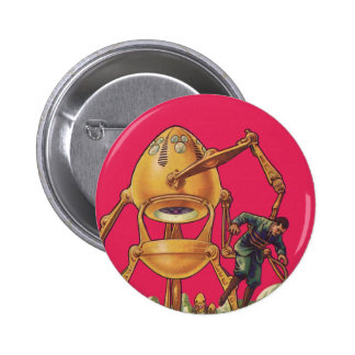 Vintage Science Fiction Alien Robot Holding Man 2 Inch Round Button
