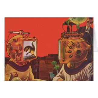 Vintage Science Fiction, Alien Steam Punk Helmets Card