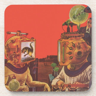 Vintage Science Fiction, Alien Steam Punk Helmets Coaster