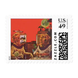 Vintage Science Fiction, Alien Steam Punk Helmets Postage Stamp