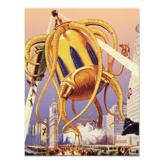 Vintage Science Fiction Alien War Invasion Octopus Card