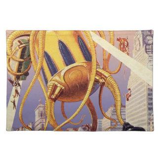 Vintage Science Fiction Alien War Invasion Octopus Cloth Placemat