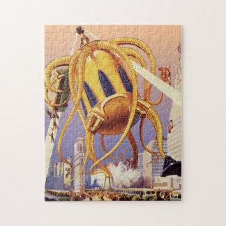 Vintage Science Fiction Alien War Invasion Octopus Jigsaw Puzzle