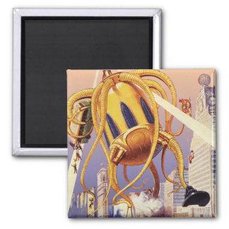Vintage Science Fiction Alien War Invasion Octopus Magnet