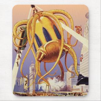 Vintage Science Fiction Alien War Invasion Octopus Mouse Pad