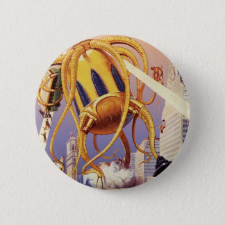 Vintage Science Fiction Alien War Invasion Octopus Pinback Button