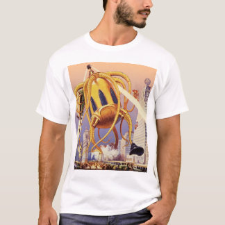 Vintage Science Fiction Alien War Invasion Octopus T-Shirt