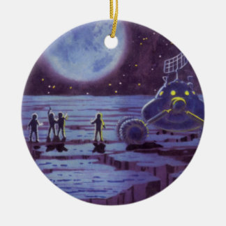 Vintage Science Fiction Aliens and Moon Rover Christmas Tree Ornament