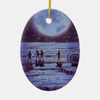 Vintage Science Fiction Aliens and Moon Rover Ornament