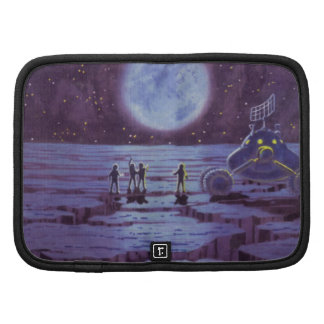 Vintage Science Fiction Aliens and Moon Rover Folio Planner