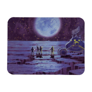 Vintage Science Fiction Aliens and Moon Rover Rectangular Photo Magnet